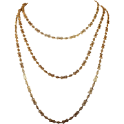 French Gold Long Guard Chain Necklace, Antique 56 inches long