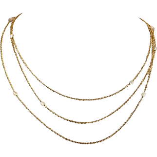 Victorian Pearl Triple Chain 14k Gold Necklace