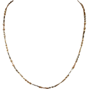 "Two-Tone 9k Gold Chain with Alternating Links, 18"" c. 1920"