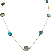 Antique Arts and Crafts Turquoise Gold Necklace