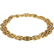 Vintage Cartier 5 Row Rice Necklace in 18k Gold, 15.5 inch Collar
