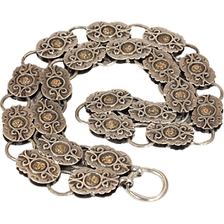 Antique Victorian Silver Collar Necklace with Decorative Links and Rose Gold Accents