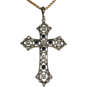Amazing Antique Edwardian Sapphire and Diamond Cross, 18k Gold and Silver c.1910