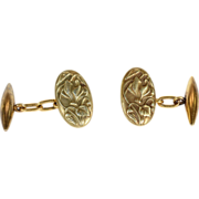 Antique French Art Nouveau Cufflinks with Cyclamen Flower Motif in 18k Gold
