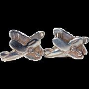 Vintage Silver Biplane Airplane Cufflinks