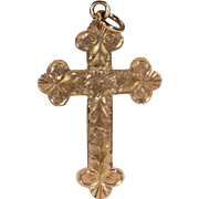 Antique Edwardian Engraved Gold Cross Pendant