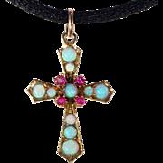 Petit Vintage Ruby Opal Gold Cross