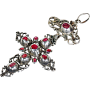 Early Georgian Silver Ruby Cross