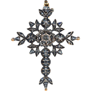 Antique Georgian Diamond Flemish Cross in 14k Gold and Silver