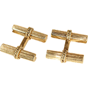 Vintage Retro Era French Bar Cuff Links in 18k Gold
