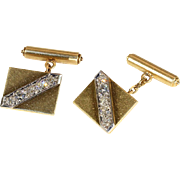 Vintage Early Art Deco Heavy Gold and Diamond Cufflinks, Manly