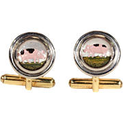 Vintage Theo Fennell Essex Crytal Cufflink and Stud Set in 18k Gold