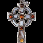 Antique Victorian Scottish Silver Cross Agate and Citrine