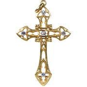 French Art Nouveau Diamond Gold Cross