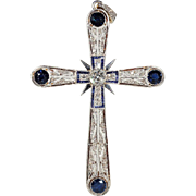 Large Antique Edwardian Sapphire and Diamond Cross in 18k and Platinum
