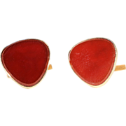 Vintage Carnelian Cufflinks in 9k Gold, English Hallmarked 1962