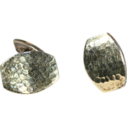 Hammered Silver Arts & Crafts Cufflinks with Gold Wash
