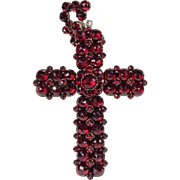 Antique Victorian Bohemian Garnet Cross