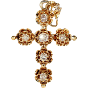 Antique Victorian Diamond Set Cross in 18k Gold, c. 1860