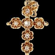 Antique Victorian Diamond Set Cross in 18k Gold, c. 1860