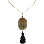 Art Deco Gold Compact Pendant Sapphire Clasp
