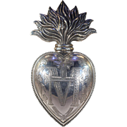 Antique French Ex-Voto Silver Heart Fire