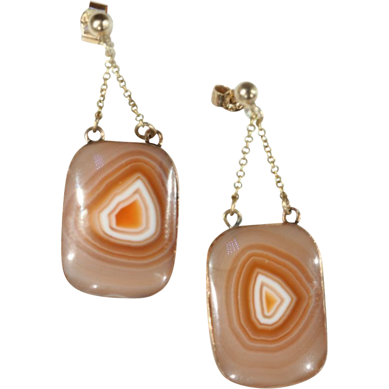 Victorian Natural Agate Earrings in 9k Gold