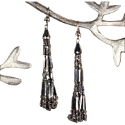 Lovely Antique Victorian Cut Steel Tassel Earrings with Silver Wires