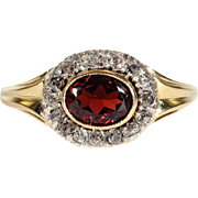 Antique Garnet and Diamond Cluster Ring, Memorial dated 1847