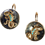 Antique French Lizard Earrings set with Turquoise in 18k Gold, c. 1890