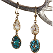 Antique Turquoise Pearl Arts & Crafts Era Earrings in 9k Gold