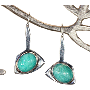 Midcentury Modern Amazonite and Sterling Silver Earrings, Sweden