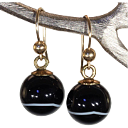 Antique Victorian Agate Drop Earrings with 9k Gold Tops