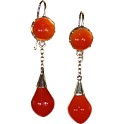 Victorian Carnelian Gold Drop Earrings