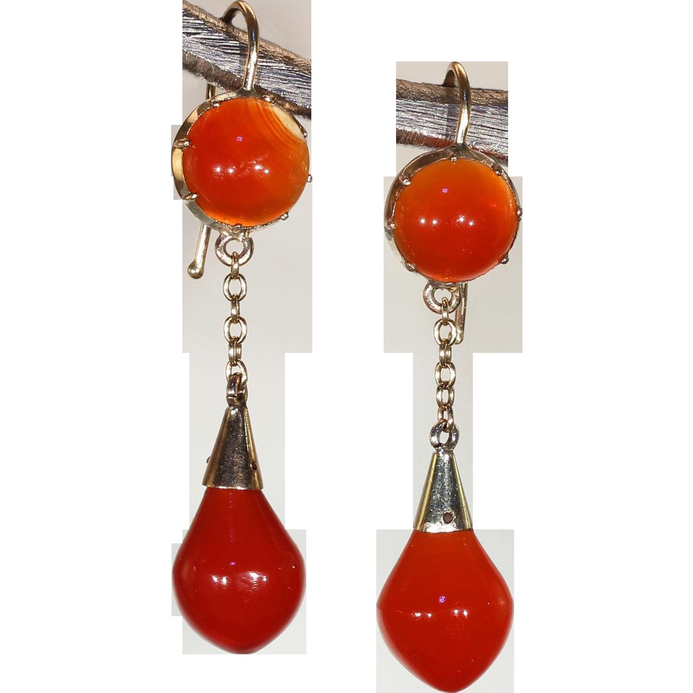 Victorian Carnelian Gold Drop Earrings