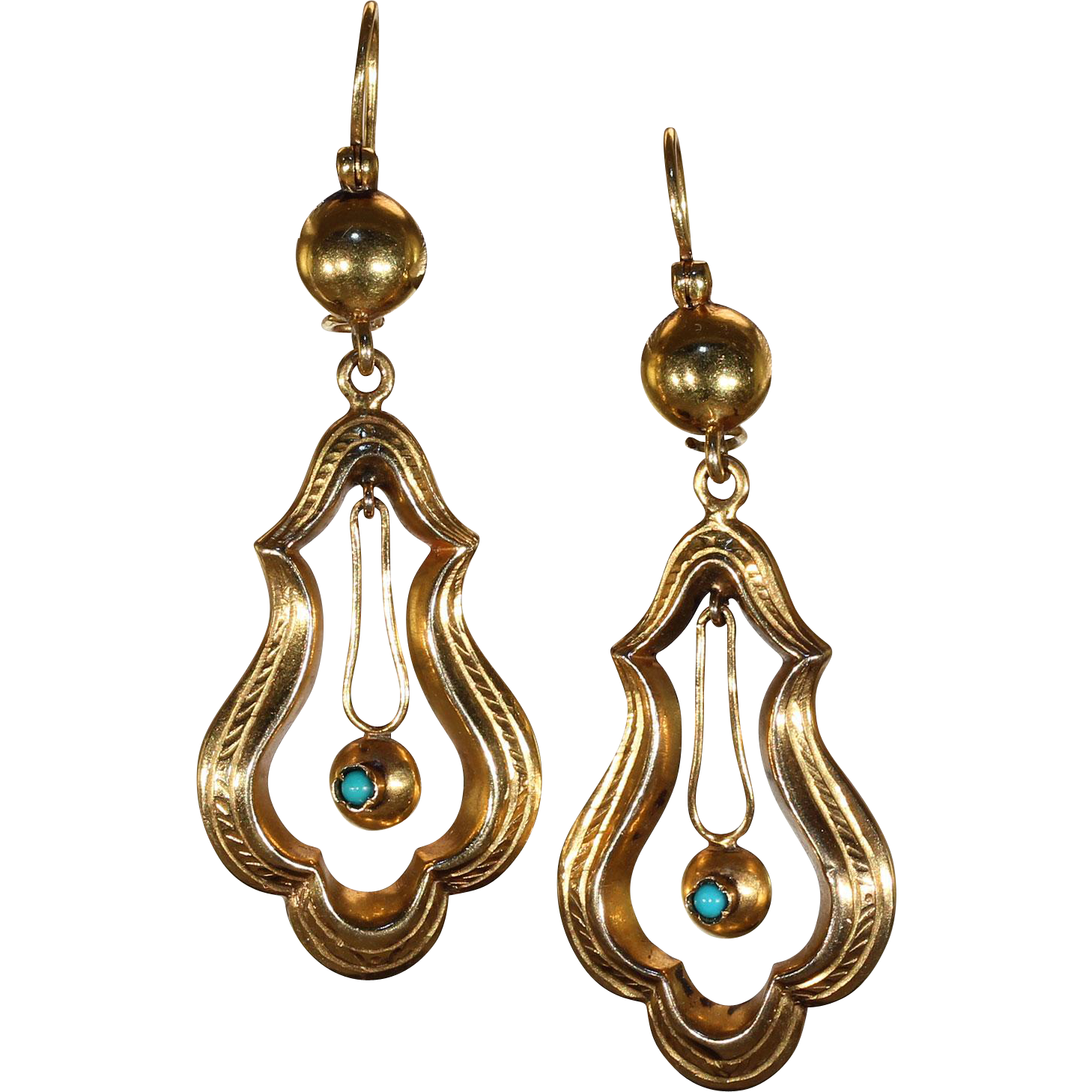 Victorian Turquoise and Gold Drop Earrings