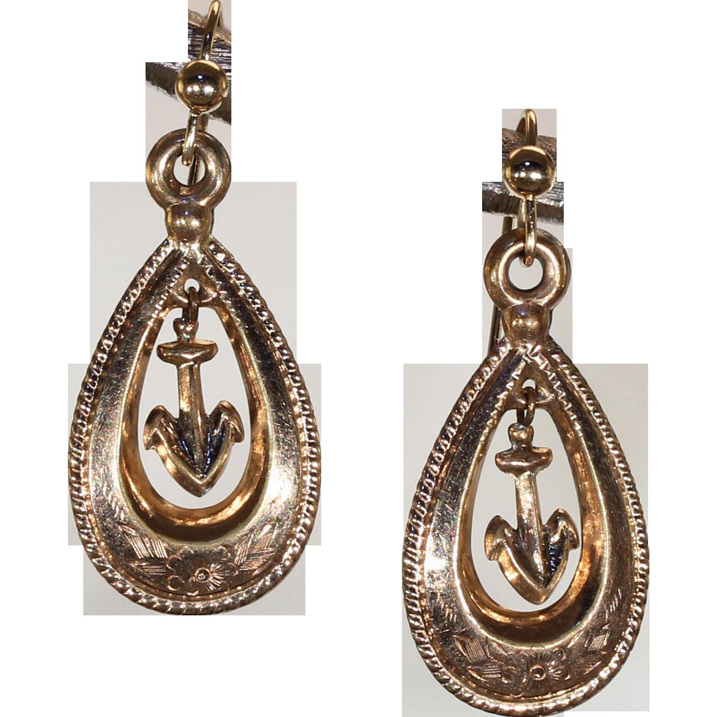 Victorian Gold Drop Earrings Anchor Motif
