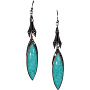 Vintage Art Deco Amazonite Marcasite Earrings