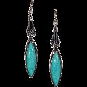 Vintage Art Deco Amazonite Marcasite Earrings
