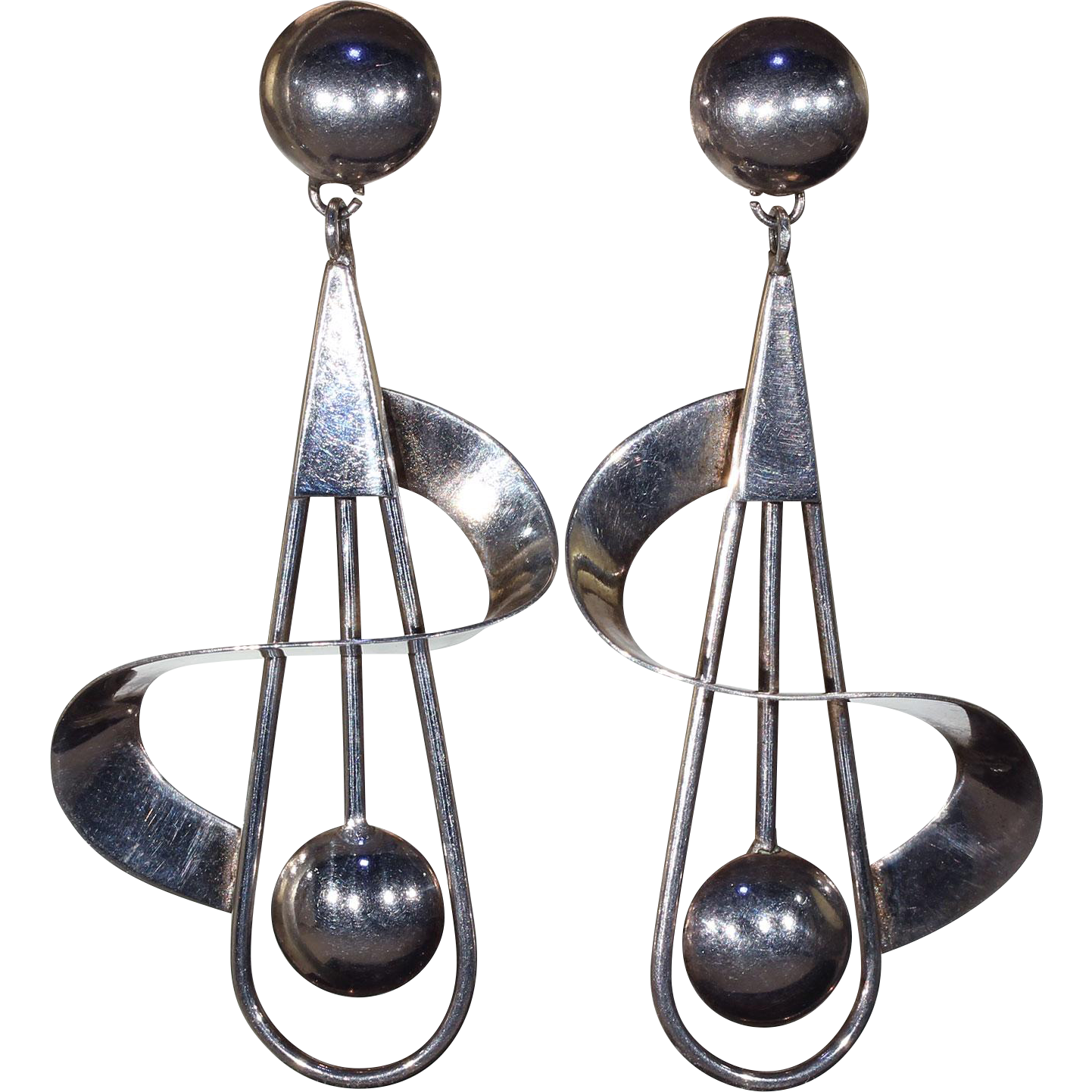 Funky Large Silver Vintage Earrings