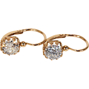Antique French Diamond Earrings Back-to-Front  in 18k Gold