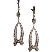 Vintage Silver Marcasite Laden Bow Earrings with Screwback Tops