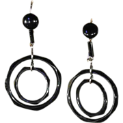 Fabulous Art Deco Jet Double Circle Earrings in Silver, c. 1920