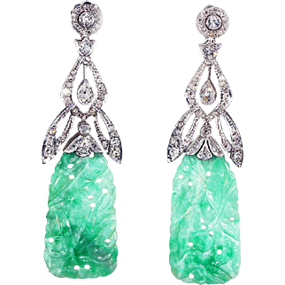 Vintage Art Deco Diamond and Jade Earrings