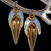 Antique Pinchbeck Blue Enamel Earrings
