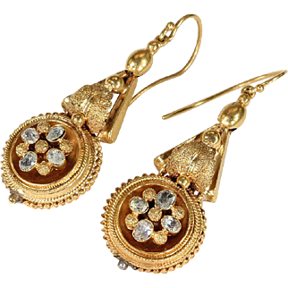 Victorian Aquamarine Etruscan Revival Earrings in 18k Gold