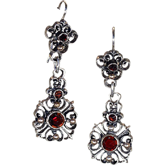 Unique Antique Austro-Hungarian Garnet Earrings in Silver and Gold