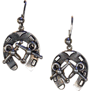 Antique Victorian Silver Horseshoe Earrings