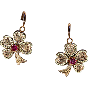 Antique French Ruby Gold Earrings Lucky Clovers