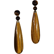 Vintage Tiger Eye Drop Earrings Gold Tops